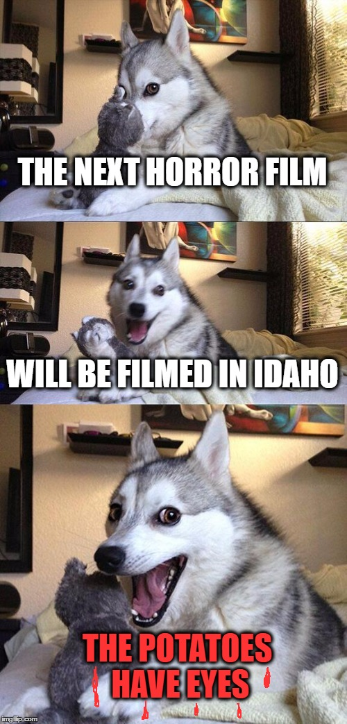 Bad Pun Dog Meme | THE NEXT HORROR FILM WILL BE FILMED IN IDAHO THE POTATOES HAVE EYES | image tagged in memes,bad pun dog | made w/ Imgflip meme maker