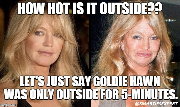 HOW HOT IS IT OUTSIDE? | HOW HOT IS IT OUTSIDE?? LET'S JUST SAY GOLDIE HAWN WAS ONLY OUTSIDE FOR 5-MINUTES. | image tagged in summer,weather,hot,celebrity,heatwave | made w/ Imgflip meme maker