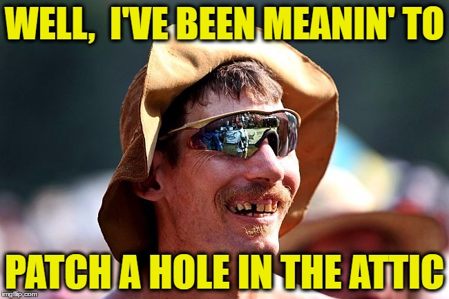 redneck | WELL,  I'VE BEEN MEANIN' TO PATCH A HOLE IN THE ATTIC | image tagged in redneck | made w/ Imgflip meme maker