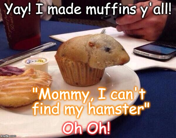 "Yay! I made muffins y'all! Oh Oh! ""Mommy, I can't find my hamster"" 