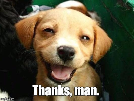 Dog Smiling | Thanks, man. | image tagged in dog smiling | made w/ Imgflip meme maker