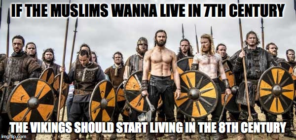 Vikings |  IF THE MUSLIMS WANNA LIVE IN 7TH CENTURY; THE VIKINGS SHOULD START LIVING IN THE 8TH CENTURY | image tagged in vikings | made w/ Imgflip meme maker