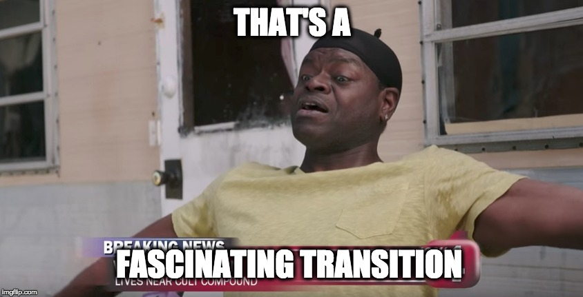 Fascinating Transition | THAT'S A FASCINATING TRANSITION | image tagged in unbreakable kimmy schmidt | made w/ Imgflip meme maker