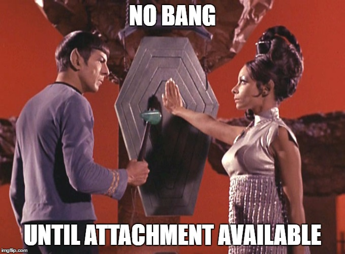 Spock T'pring Attachment Unavailable | NO BANG UNTIL ATTACHMENT AVAILABLE | image tagged in spock t'pring attachment unavailable | made w/ Imgflip meme maker