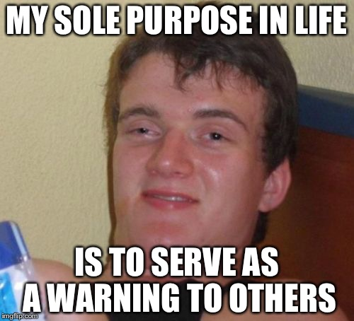 Drugs are bad... Mmm, K | MY SOLE PURPOSE IN LIFE IS TO SERVE AS A WARNING TO OTHERS | image tagged in memes,10 guy | made w/ Imgflip meme maker