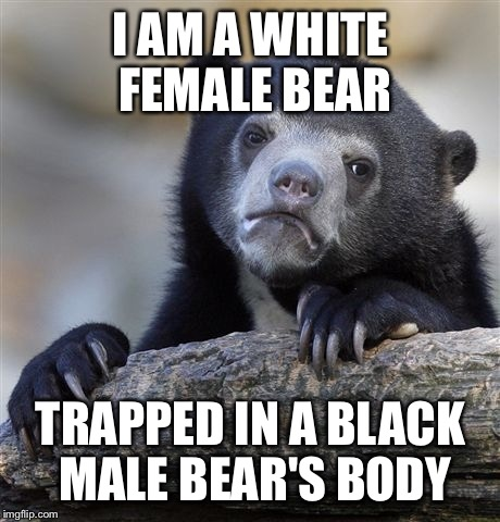 Confession Bear Meme | I AM A WHITE FEMALE BEAR TRAPPED IN A BLACK MALE BEAR'S BODY | image tagged in memes,confession bear | made w/ Imgflip meme maker