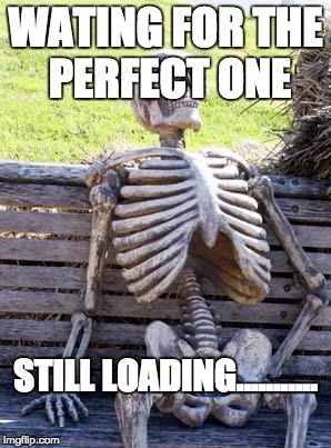 Waiting Skeleton Meme | WATING FOR THE PERFECT ONE STILL LOADING........... | image tagged in memes,waiting skeleton | made w/ Imgflip meme maker