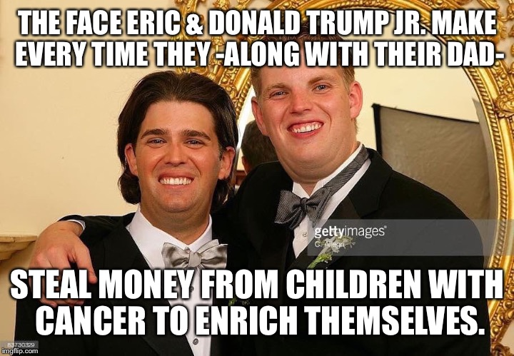 THE FACE ERIC & DONALD TRUMP JR. MAKE EVERY TIME THEY -ALONG WITH THEIR DAD- STEAL MONEY FROM CHILDREN WITH CANCER TO ENRICH THEMSELVES. | image tagged in eric  donnie | made w/ Imgflip meme maker