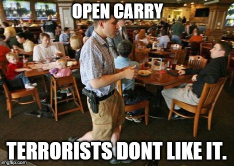 Armed American | OPEN CARRY TERRORISTS DONT LIKE IT. | image tagged in gun control | made w/ Imgflip meme maker