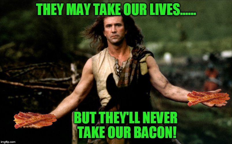 bacon.....'nuff said | THEY MAY TAKE OUR LIVES...... BUT THEY'LL NEVER TAKE OUR BACON! | image tagged in bacon,mel gibson | made w/ Imgflip meme maker