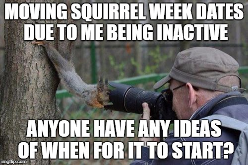 Like what new dates for it? | MOVING SQUIRREL WEEK DATES DUE TO ME BEING INACTIVE ANYONE HAVE ANY IDEAS OF WHEN FOR IT TO START? | image tagged in memes,jehovas witness squirrel,squirrel week | made w/ Imgflip meme maker