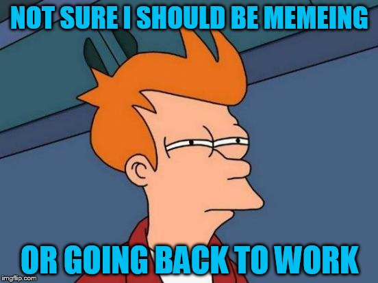 Futurama Fry Meme | NOT SURE I SHOULD BE MEMEING OR GOING BACK TO WORK | image tagged in memes,futurama fry,meme or hammer | made w/ Imgflip meme maker