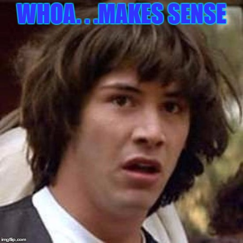 Conspiracy Keanu Meme | WHOA. . .MAKES SENSE | image tagged in memes,conspiracy keanu | made w/ Imgflip meme maker
