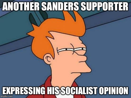 Futurama Fry Meme | ANOTHER SANDERS SUPPORTER EXPRESSING HIS SOCIALIST OPINION | image tagged in memes,futurama fry | made w/ Imgflip meme maker
