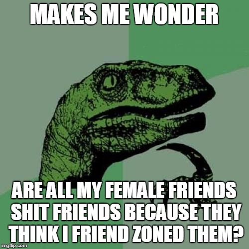Philosoraptor Meme | MAKES ME WONDER ARE ALL MY FEMALE FRIENDS SHIT FRIENDS BECAUSE THEY THINK I FRIEND ZONED THEM? | image tagged in memes,philosoraptor | made w/ Imgflip meme maker