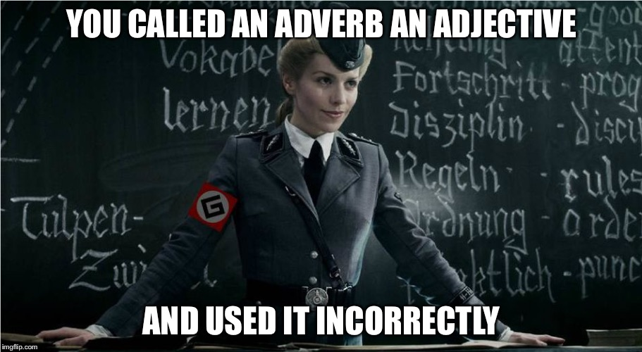 Grammar Nazi | YOU CALLED AN ADVERB AN ADJECTIVE AND USED IT INCORRECTLY | image tagged in grammar nazi,adverb,adjective,memes | made w/ Imgflip meme maker