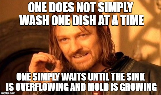 One Does Not Simply Meme | ONE DOES NOT SIMPLY WASH ONE DISH AT A TIME ONE SIMPLY WAITS UNTIL THE SINK IS OVERFLOWING AND MOLD IS GROWING | image tagged in memes,one does not simply | made w/ Imgflip meme maker