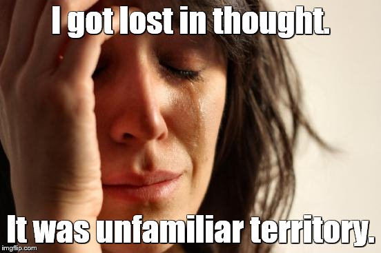 First World Problems Meme | I got lost in thought. It was unfamiliar territory. | image tagged in memes,first world problems | made w/ Imgflip meme maker