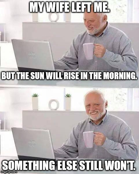 Hide the Pain Harold | MY WIFE LEFT ME. SOMETHING ELSE STILL WON'T. BUT THE SUN WILL RISE IN THE MORNING. | image tagged in hide the pain harold,memes,funny,bad luck,relationships,first world problems | made w/ Imgflip meme maker