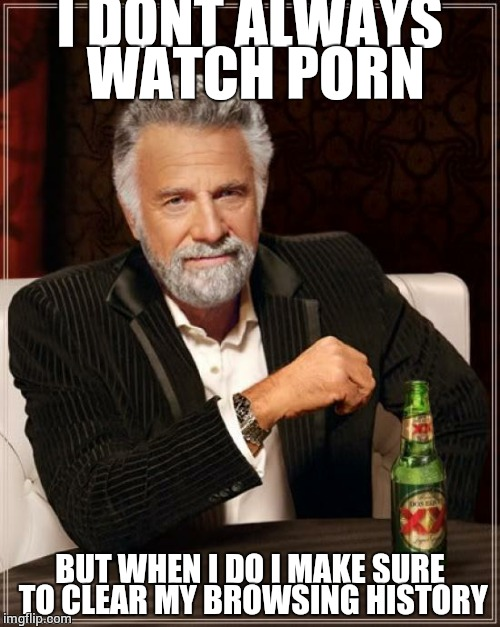 The Most Interesting Man In The World Meme | I DONT ALWAYS WATCH PORN BUT WHEN I DO I MAKE SURE TO CLEAR MY BROWSING HISTORY | image tagged in memes,the most interesting man in the world | made w/ Imgflip meme maker