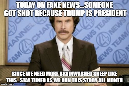 Ron Burgundy Meme | TODAY ON FAKE NEWS...SOMEONE GOT SHOT BECAUSE TRUMP IS PRESIDENT SINCE WE NEED MORE BRAINWASHED SHEEP LIKE THIS...STAY TUNED AS WE RUN THIS  | image tagged in memes,ron burgundy | made w/ Imgflip meme maker