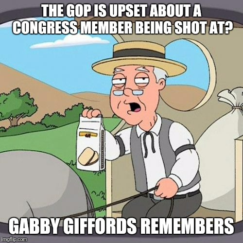 Pepperidge Farm Remembers Meme | THE GOP IS UPSET ABOUT A CONGRESS MEMBER BEING SHOT AT? GABBY GIFFORDS REMEMBERS | image tagged in memes,pepperidge farm remembers,AdviceAnimals | made w/ Imgflip meme maker