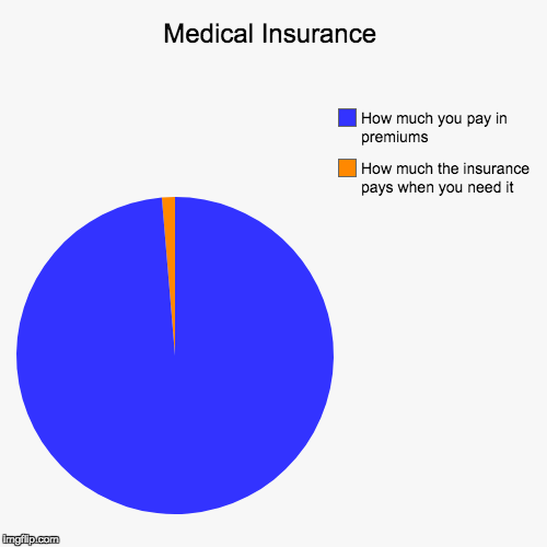 Medical Insurance | How much the insurance pays when you need it, How much you pay in premiums | image tagged in funny,pie charts | made w/ Imgflip chart maker