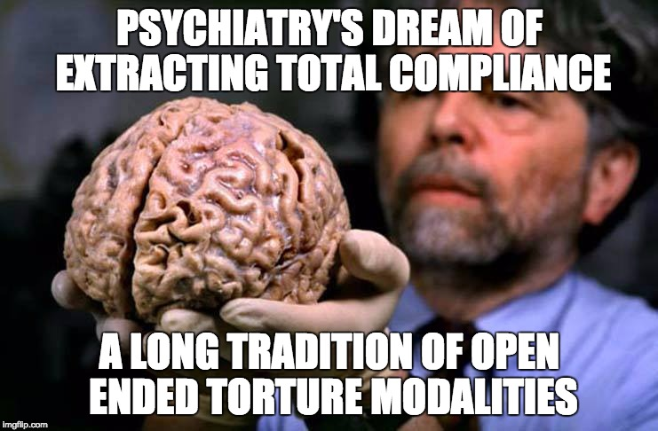 Lost brain | PSYCHIATRY'S DREAM OF EXTRACTING TOTAL COMPLIANCE A LONG TRADITION OF OPEN ENDED TORTURE MODALITIES | image tagged in lost brain | made w/ Imgflip meme maker