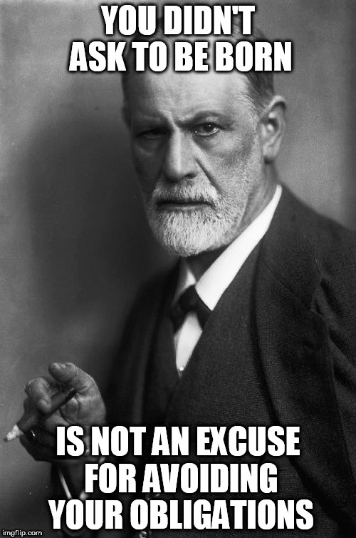 Sigmund Freud | YOU DIDN'T ASK TO BE BORN IS NOT AN EXCUSE FOR AVOIDING YOUR OBLIGATIONS | image tagged in memes,sigmund freud | made w/ Imgflip meme maker