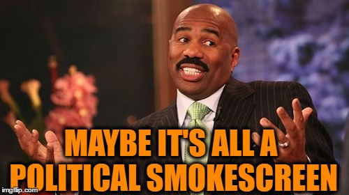 Steve Harvey Meme | MAYBE IT'S ALL A POLITICAL SMOKESCREEN | image tagged in memes,steve harvey | made w/ Imgflip meme maker