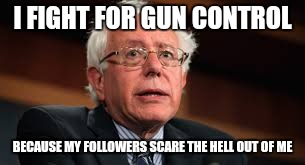 Maybe the left knows their people better than we think. | I FIGHT FOR GUN CONTROL BECAUSE MY FOLLOWERS SCARE THE HELL OUT OF ME | image tagged in bernie sanders,run bernie run,memes | made w/ Imgflip meme maker