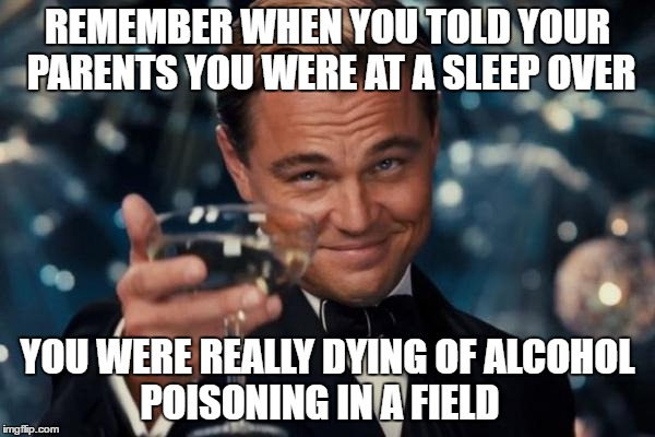 Leonardo Dicaprio Cheers Meme | REMEMBER WHEN YOU TOLD YOUR PARENTS YOU WERE AT A SLEEP OVER YOU WERE REALLY DYING OF ALCOHOL POISONING IN A FIELD | image tagged in memes,leonardo dicaprio cheers | made w/ Imgflip meme maker