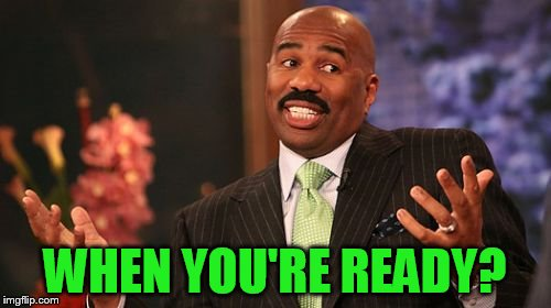 Steve Harvey Meme | WHEN YOU'RE READY? | image tagged in memes,steve harvey | made w/ Imgflip meme maker