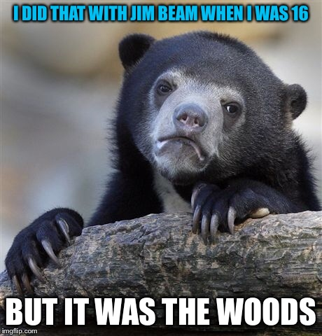 Confession Bear Meme | I DID THAT WITH JIM BEAM WHEN I WAS 16 BUT IT WAS THE WOODS | image tagged in memes,confession bear | made w/ Imgflip meme maker