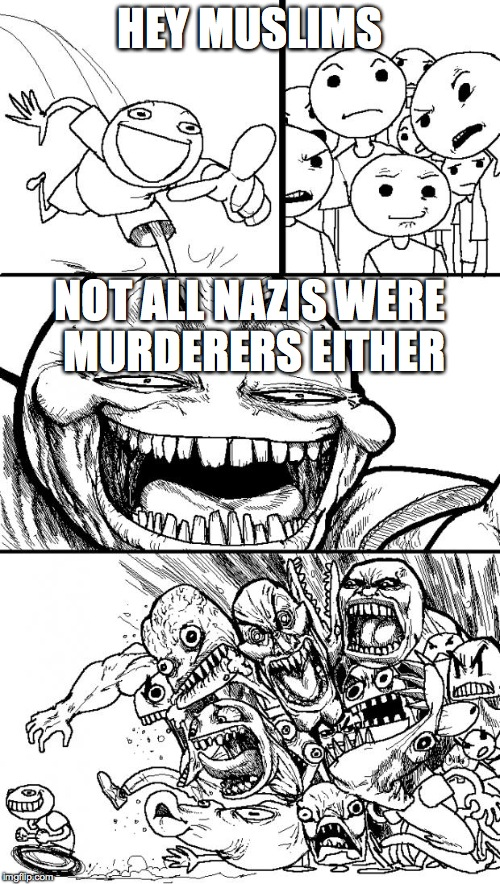 Hey Internet Meme | HEY MUSLIMS NOT ALL NAZIS WERE MURDERERS EITHER | image tagged in memes,hey internet | made w/ Imgflip meme maker