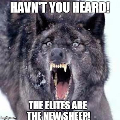 Angry Wolf | HAVN'T YOU HEARD! THE ELITES ARE THE NEW SHEEP! | image tagged in angry wolf | made w/ Imgflip meme maker
