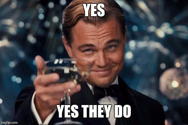 Leonardo Dicaprio Cheers Meme | YES YES THEY DO | image tagged in memes,leonardo dicaprio cheers | made w/ Imgflip meme maker