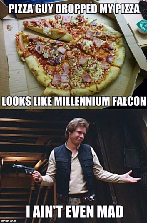 The Millennium Pizza  | image tagged in millennium falcon,pizza,star wars | made w/ Imgflip meme maker