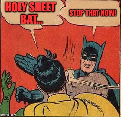 Batman Slapping Robin Meme | HOLY SHEET BAT... STOP THAT NOW! | image tagged in memes,batman slapping robin | made w/ Imgflip meme maker