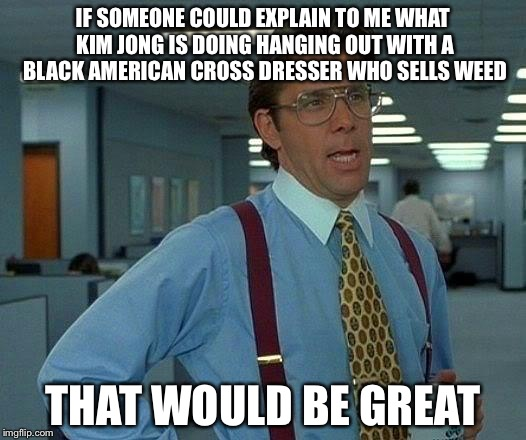 That Would Be Great | IF SOMEONE COULD EXPLAIN TO ME WHAT KIM JONG IS DOING HANGING OUT WITH A BLACK AMERICAN CROSS DRESSER WHO SELLS WEED THAT WOULD BE GREAT | image tagged in memes,that would be great,dennis rodman | made w/ Imgflip meme maker
