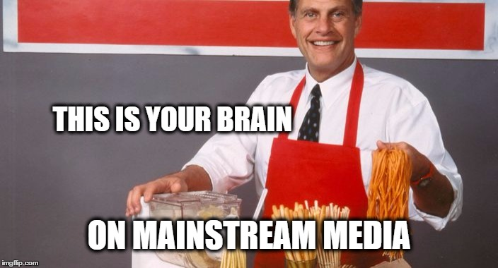 Ron Popeil | THIS IS YOUR BRAIN ON MAINSTREAM MEDIA | image tagged in ron popeil,mainstream media,this is awkward,brain on drugs | made w/ Imgflip meme maker