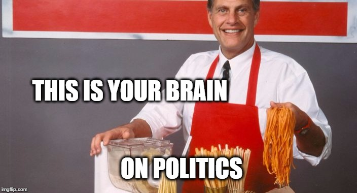 Ron Popeil | THIS IS YOUR BRAIN ON POLITICS | image tagged in ron popeil,politics,political meme,what if i told you,flying spaghetti monster,when the spaghetti is just right | made w/ Imgflip meme maker