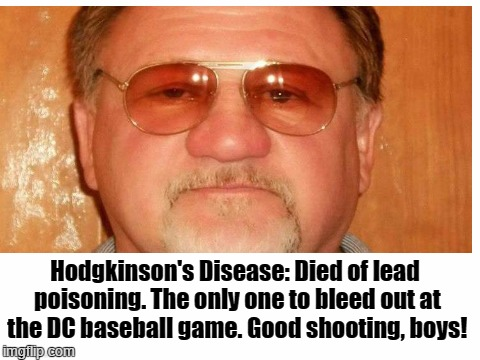 Hodgkinson's Disease: Died of lead poisoning | Hodgkinson's Disease: Died of lead poisoning. The only one to bleed out at the DC baseball game. Good shooting, boys! | image tagged in radical left-winger,bernie's bunch,too bad so sad,loretta lynch you're next | made w/ Imgflip meme maker