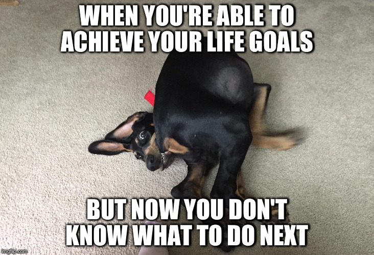 WHEN YOU'RE ABLE TO ACHIEVE YOUR LIFE GOALS BUT NOW YOU DON'T KNOW WHAT TO DO NEXT | image tagged in AdviceAnimals | made w/ Imgflip meme maker