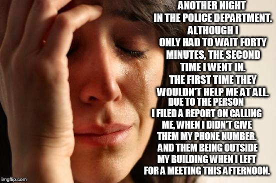 First World Problems | ANOTHER NIGHT IN THE POLICE DEPARTMENT. ALTHOUGH I ONLY HAD TO WAIT FORTY MINUTES, THE SECOND TIME I WENT IN. THE FIRST TIME THEY WOULDN'T H | image tagged in memes,first world problems,the police,memes in real life,life sucks,just plain comedy | made w/ Imgflip meme maker
