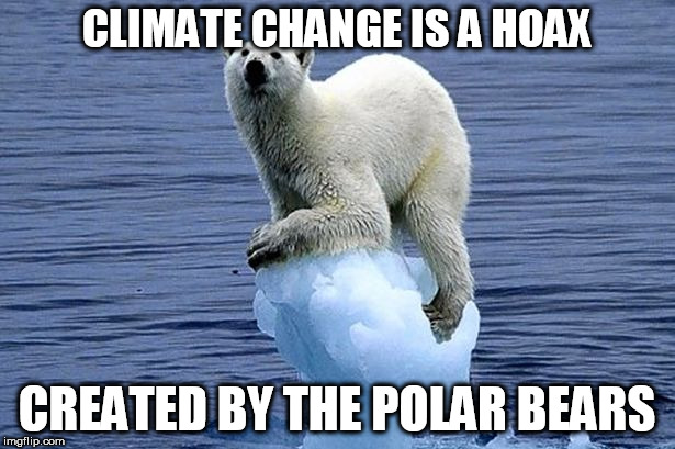 Polar bear climate change | CLIMATE CHANGE IS A HOAX CREATED BY THE POLAR BEARS | image tagged in polar bear climate change,memes | made w/ Imgflip meme maker
