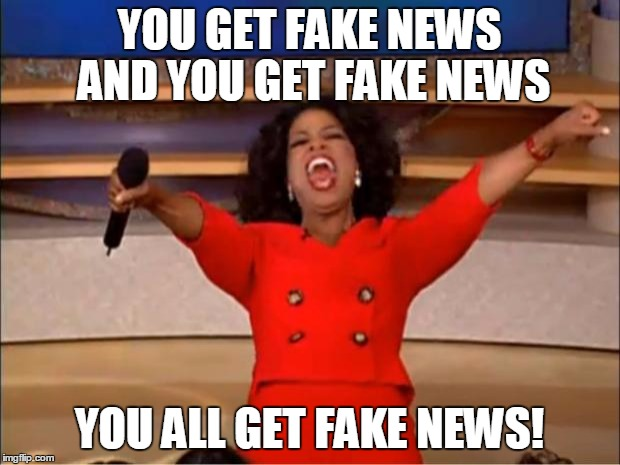 Just Another Day, Brought To You By The Media | YOU GET FAKE NEWS AND YOU GET FAKE NEWS YOU ALL GET FAKE NEWS! | image tagged in memes,oprah you get a | made w/ Imgflip meme maker