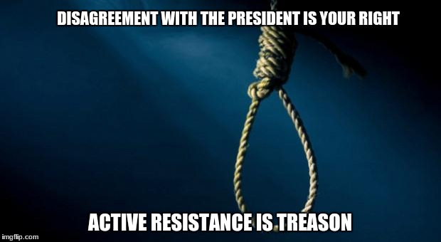 Noose | DISAGREEMENT WITH THE PRESIDENT IS YOUR RIGHT ACTIVE RESISTANCE IS TREASON | image tagged in noose | made w/ Imgflip meme maker