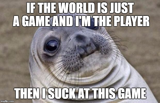 Awkward Moment Sealion Meme | IF THE WORLD IS JUST A GAME AND I'M THE PLAYER THEN I SUCK AT THIS GAME | image tagged in memes,awkward moment sealion | made w/ Imgflip meme maker