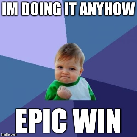 IM DOING IT ANYHOW EPIC WIN | image tagged in memes,success kid | made w/ Imgflip meme maker